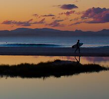 Surfing At Sunset by KerryPurnell