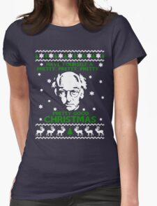 LARRY DAVID PRETTY GOOD CHRISTMAS UGLY SWEATER Womens Fitted T-Shirt