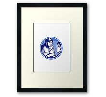 Office Worker Businesswoman Discussion Woodcut Framed Print
