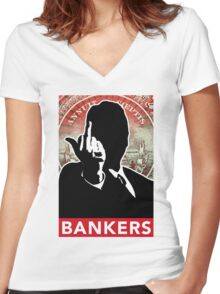 BANKERS - Giving You The Finger Women's Fitted V-Neck T-Shirt