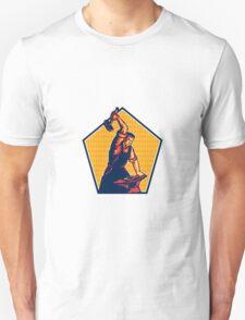 Blacksmith Worker Striking Sledgehammer Anvil Retro Unisex T-Shirt