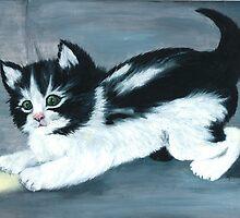 Kitten and Sun Ray by Nadezhda Predvechnaya