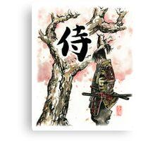 Samurai under Sakura Sumie Style Canvas Print