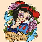 Snow White Day of The Dead Style Pink Background by EmRachArt92