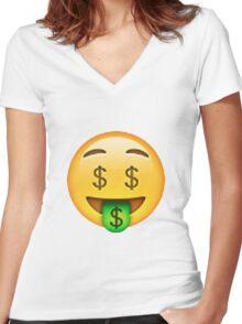 Money Emoji Women's Fitted V-Neck T-Shirt