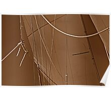Sepia Sails And Lines Poster