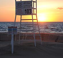 Sunset along Lake Michigan at Silver Beach - 7 by Debbie Mueller