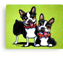 Bostons in Bowties Canvas Print