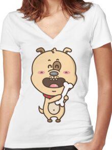 kawaii puppy Women's Fitted V-Neck T-Shirt