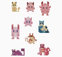 Mini Pixel Kanto Normal Types - Set of 9 by pixelatedcowboy