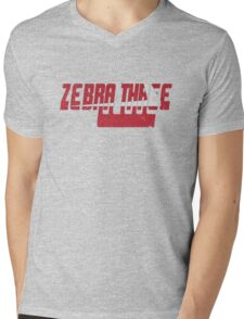 Vintage Seventies Look Zebra Three Call Sign Graphic Mens V-Neck T-Shirt