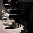 Skull on Books - Still Life - Key, Lace and Secrets in NYC   by 082010