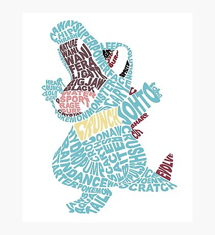Totodile Typography Photographic Print