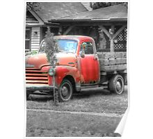 Old Chevy Truck rustic red HDR photography Poster