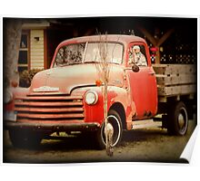 Old Red Chevy rustic vintage antique truck Poster