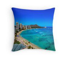 Diamond Head and Waikiki Beach Scene Throw Pillow