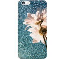 White flowers and  raindrops on sky blue colored glass iPhone Case/Skin
