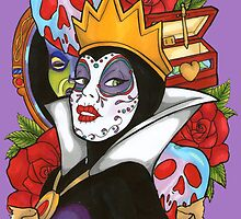 Evil Queen Snow White Disney Day Of The Dead purple background by EmRachArt92