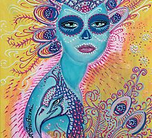 Peacock Sugar Skull by Laura Barbosa
