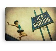 Ice Skating Rink Vintage Signage Canvas Print