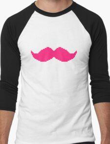MARKIPLIER PINK MOUSTACHE PIXEL 8 BIT 16 BIT Men's Baseball ¾ T-Shirt