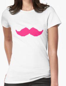 MARKIPLIER PINK MOUSTACHE PIXEL 8 BIT 16 BIT Womens Fitted T-Shirt