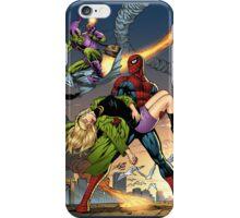 Spidey, Gwen Stacy, Goblin Action Scene by Al Rio iPhone Case/Skin