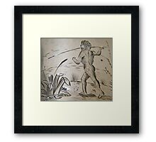 An engraving on silver of an aborigine, circa 1880 Framed Print