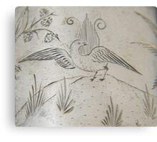 Lyrebird engraving on silver, circa 1880 Metal Print