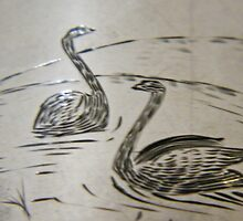 Black Swan engraving on silver, circa 1880 by staunto
