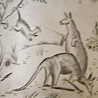 Possum and Kangaroos engraving on silver, circa 1880 by staunto