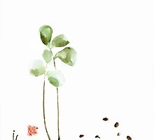 Coffee cafe plant and beans brown green watercolor painting kitchen art by Mariusz Szmerdt