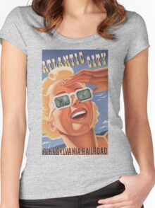 Vintage poster - Atlantic City Women's Fitted Scoop T-Shirt