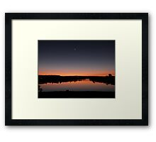 Moon smiling over the Lake at Sunset Framed Print