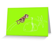 Cheeky monkey sleeps on a bended coconut tree Greeting Card