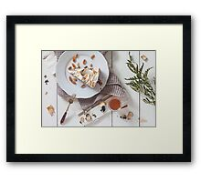 A Slice Of Cake With A Glass Of Tea Framed Print