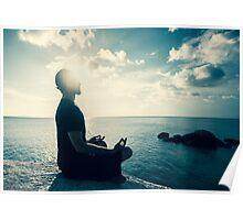 Man Meditating At Sunset Poster