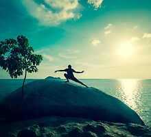 Sunset Tai Chi in Turquoise by visualspectrum