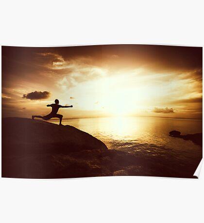 Warrior Yoga at Sunset Poster