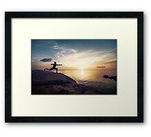 Warrior Yoga by the Ocean Framed Print