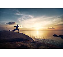 Warrior Yoga by the Ocean Photographic Print