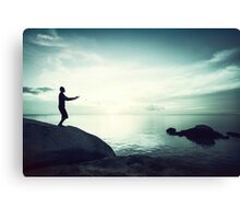 Sunset Yoga in Blue Tones Canvas Print