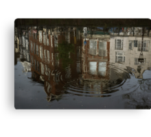Raindrops, Ripples and Fabulous Reflections of Amsterdam Canal Houses Canvas Print