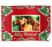 Quarter Horse Blank Christmas Card Poster
