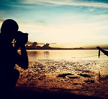 Landscape Photographer at Sunset by visualspectrum