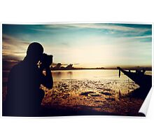 Landscape Photographer at Sunset Poster