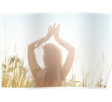 Young Woman Dancing in Grass Field Poster
