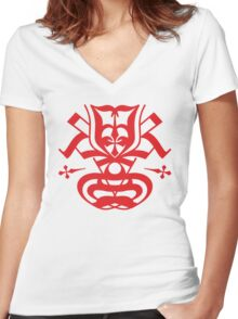 Typo Samurai - Red Women's Fitted V-Neck T-Shirt