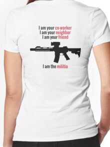 I am the Militia. Women's Fitted V-Neck T-Shirt