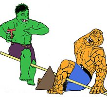 The Hulk and The Thing on a Teeter Totter by GospelGauntlet